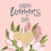 Women's day greeting card with cute illustration and handwritten calligraphy text. Vector.