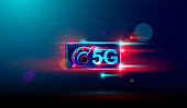 5G Wireless internet with high speed download and upload on smartphone devices Vector.