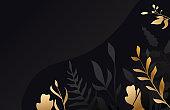 Golden flower on black background .Gold leaf. Floral brochure, card, cover Vector.