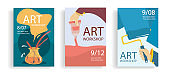 Set of art banners. Workshop, art lessons concept . Cartoon hands roller, hand with tube . Colourful flat posters. Vector