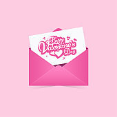 Happy Valentines day greeting card, invitation with pink envelope abstract background