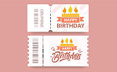 Birthday coupon gift card with coupon code and cake illustration. Vector