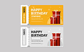 Birthday coupon. Ticket. Gift card for sale. Vector