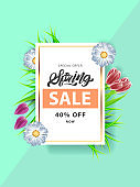 Spring in lettering style Sale flyer with  flowers in realistic style, gold frame. Invitation, posters, brochure, voucher discount. Vector illustration design