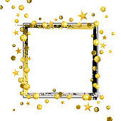 Decorative Frame with Golden Confetti and Asterisks