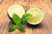 Lemon and mint on an old wooden table