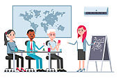 Teamwork concept illustration with coworkers and woman boss in boardroom. Vector cartoon business persons character isolated on a white background.