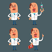 Funny doctor character set. Vector cartoon medical worker isolated on background.