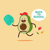 Back to school vector cartoon concept illustration with cute avocado character isolated on background.