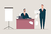 Signing of documents and contracts. Businessman and man secretary vector cartoon character. Office concept illustration isolated on background.