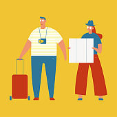 Travel vector concept illustration with couple tourists characters isolated on a white background.