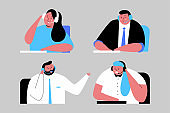 Support service vector cartoon illustration with people characters in headphone isolated on background.