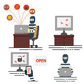 Hacker and cyber crime vector set of icons isolated on white background.