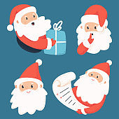 Cute Santa Claus characters with letter and gift box vector cartoon set isolated on background.