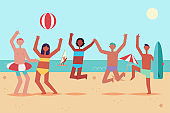 Summer beach party with dancing and jumping young people in swimming suits with inflatable ring, ball and surfboard. Vector cartoon flat illustration of a vacation on sea of men and women.