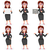 Business cartoon character of woman office worker. Vector set design of flat people in presentation poses isolated on a white background.