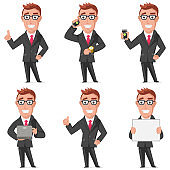 Businessman cartoon character of man office worker. Vector set design of flat people in presentation poses isolated on a white background.