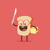 Cute toast with butter and knife. Funny bread vector cartoon character isolated on a white background.