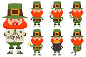 Leprechaun vector cartoon set with different emotions. Flat character of the fun gnome for St. Patrick's Day isolated on a white background.