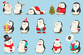Cute Christmas penguins set. Vector cartoon character of funny animals in costumes and with gifts. Winter illustration for holiday design.