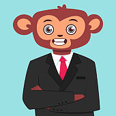 Monkey in a business suit. Vector cartoon flat illustration of a funny animal isolated on background.