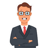 Businessman with arms crossed in a business suit. Vector cartoon flat character isolated on white background.