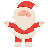 Cute Santa Claus vector cartoon character isolated on white background.
