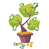 Money tree with dollars and gold coins. Vector cartoon icon isolated on white background.
