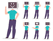 Man with a computer instead of a head with different pixel emotions and signs on the monitor. Vector cartoon character set isolated on white background.