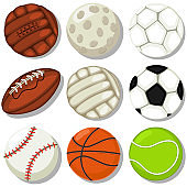 Different sport balls vector cartoon icons set. Basketball, soccer, rugby, tennis, baseball, golf, football and volleyball illustration isolated on a white background.