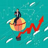 Businessman on a balloon. Graph profits. Business concept illustration.