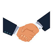 Business partners handshake vector flat icon isolated on white background.