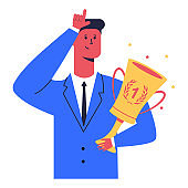 Businessman with winner cup shows loser sign. Vector cartoon character isolated on a white background.