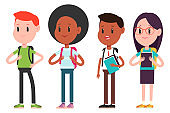 Students teenagers vector cartoon characters set isolated on a white background.
