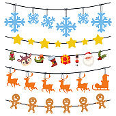Christmas garland with snowflakes, reindeer, gingerbread, Santa Claus, gift box and tree. Vector cartoon set isolated on a white background.