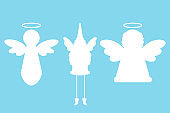 Christmas angel silhouettes vector set isolated on background.