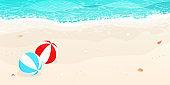 happy summer,beach blue wave,beach balls  vector