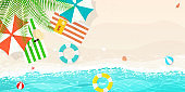 happy summer,beach blue wave,umbrella beach balls swim ring vector
