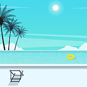 happy summer holiday,pool  resort.vacation travel vector.