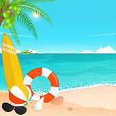 happy summer holiday, tropical beach.vacation travel vector.