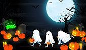 halloween night Trick or Treat kids vector