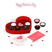 happy valentine's day,isometric chocolate cake gift set box vector