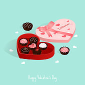 happy valentine's day,isometric chocolate gift box pastel love card vector