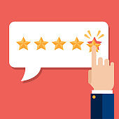 Rating on customer service illustration. Website rating feedback and review concept. Flat vector illustration
