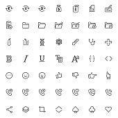600 simple outline flat icons. Set of universal icons for website and mobile. Flat vector illustration