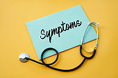 """Blue paper with text """"Symptoms"""" and stethoscope on yellow background"""