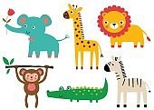 Cute African baby animals, vector set