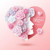 8 March International Women's day concept design of woman and flowers in heart shape vector illustration