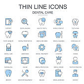 Thin line dental care, dentistry equipment icons set for website and mobile site and apps. Contains such Icons as Dentist, Braces. Flat vector illustration
