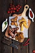 beer snacks: chicken wings, rye croutons, fried cheese